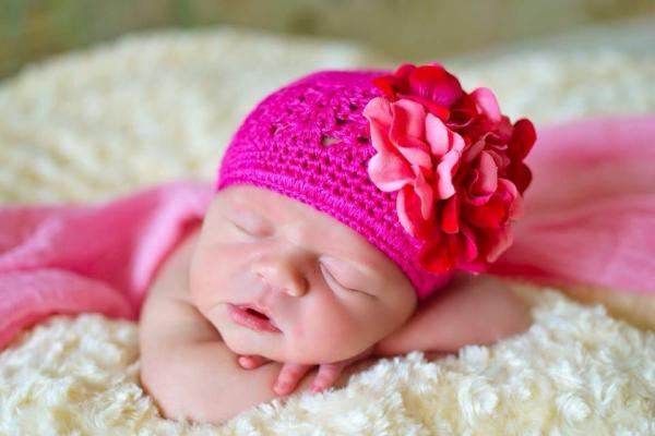 Raspberry Crochet Hat with Pink Raspberry Large Geraniums