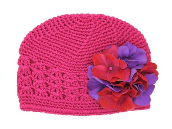 Raspberry Crochet Hat with Purple Raspberry Large Geraniums
