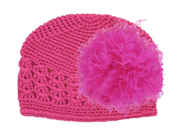 Raspberry Crochet Hat with Raspberry Large Curly Marabou