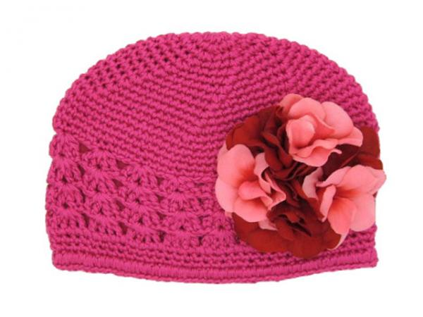 Raspberry Crochet Hat with Red Pink Large Geraniums