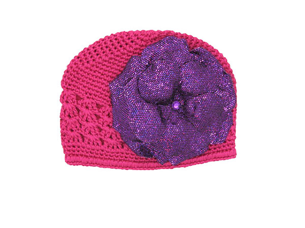 Raspberry Crochet Hat with Sequins Purple Rose