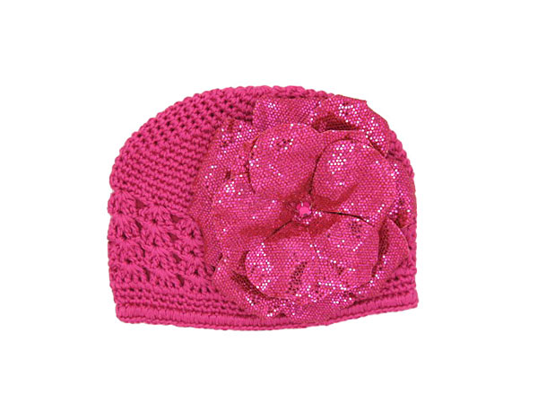 Raspberry Crochet Hat with Sequins Raspberry Rose
