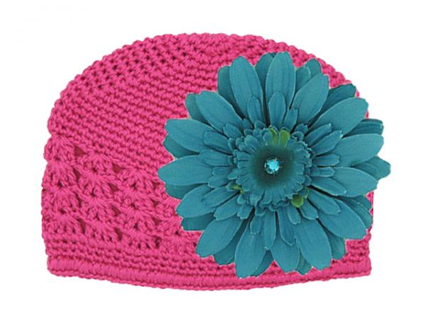Raspberry Crochet Hat with Teal Daisy