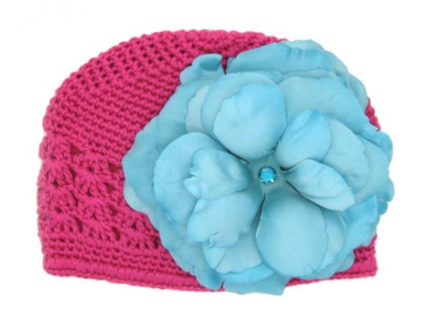 Raspberry Crochet Hat with Teal Large Rose
