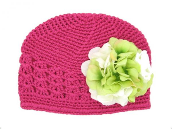 Raspberry Crochet Hat with White Green Large Geraniums