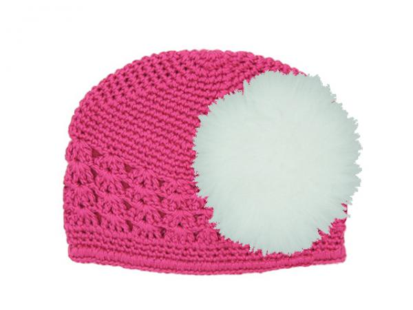 Raspberry Crochet Hat with White Large regular Marabou