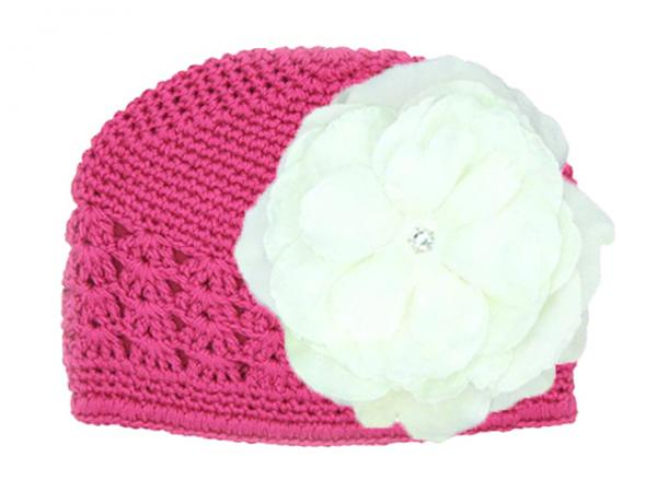 Raspberry Crochet Hat with White Large Rose