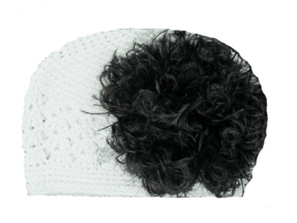 White Crochet Hat with Black Large Curly Marabou