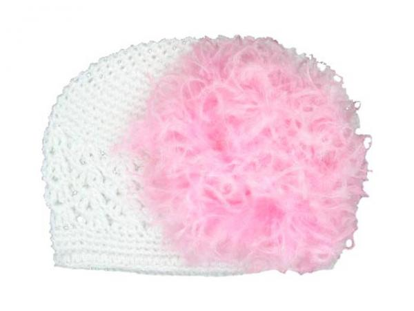 White Crochet Hat with Candy Pink Large Curly Marabou