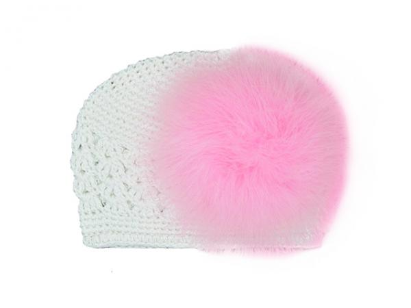 White Crochet Hat with Candy Pink Large regular Marabou