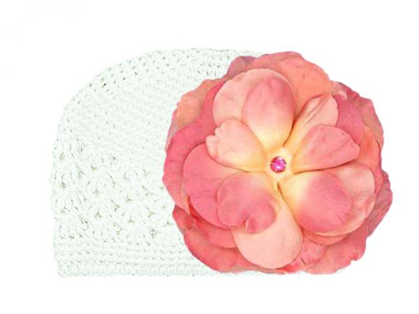 White Crochet Hat with Candy Pink Large Rose