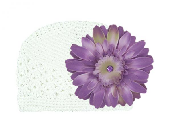 White Crochet Hat with Lavender Daisy