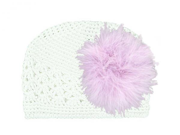 White Crochet Hat with Lavender Large regular Marabou