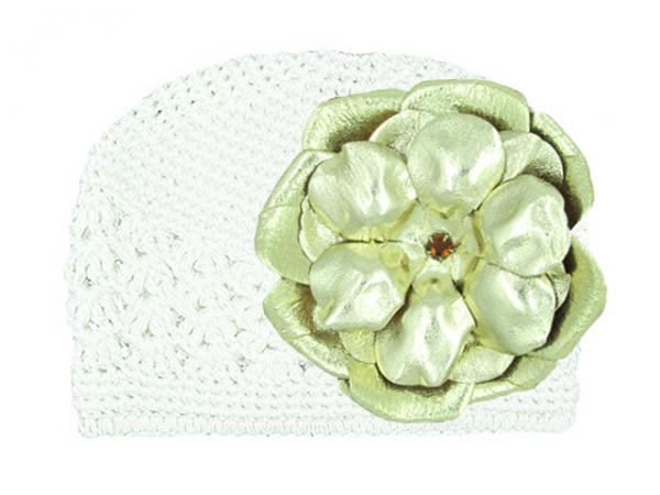 White Crochet Hat with Metallic Gold Rose