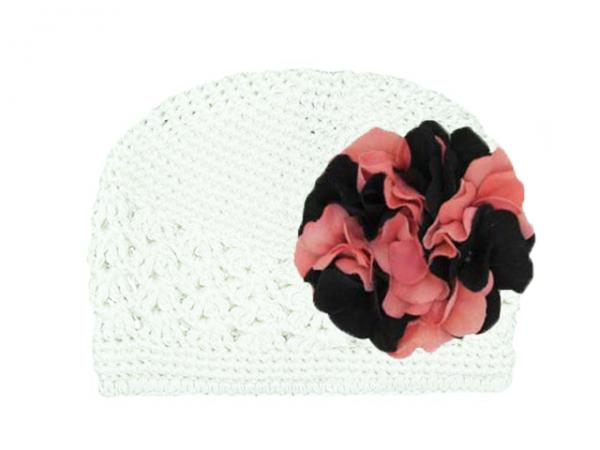 White Crochet Hat with Pink Black Large Geraniums