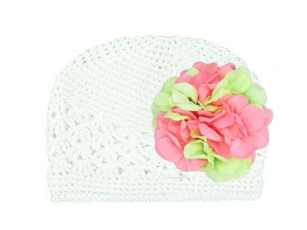 White Crochet Hat with Pink Green Large Geraniums