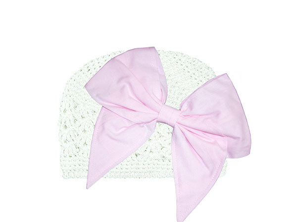 White Crochet Hat with Pale Pink Bow-Rae-Mi