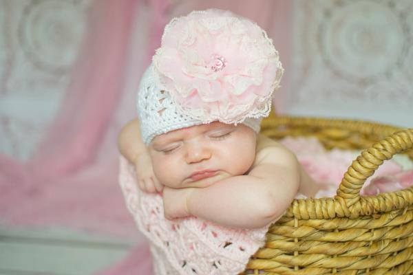 White Crochet Hat with Pale Pink Lace Rose