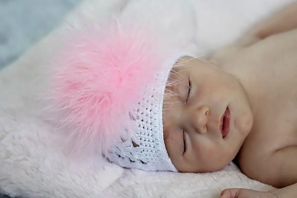 White Crochet Hat with Pale Pink Large regular Marabou