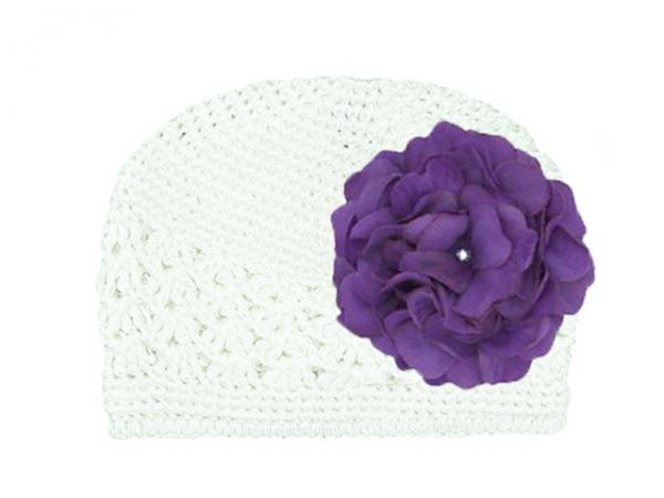 White Crochet Hat with Purple Large Geraniums