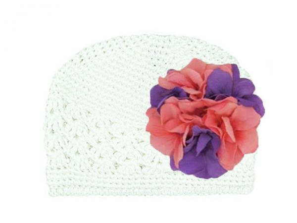 White Crochet Hat with Purple Pink Large Geraniums