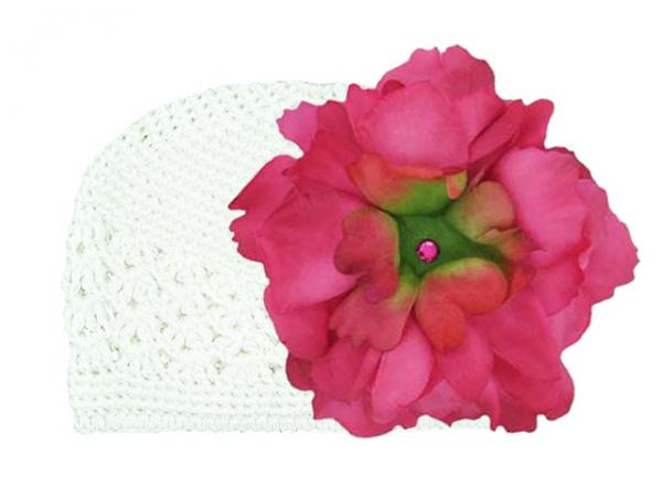White Crochet Hat with Raspberry Large Peony