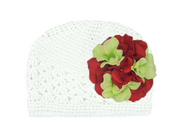 White Crochet Hat with Red Green Large Geraniums