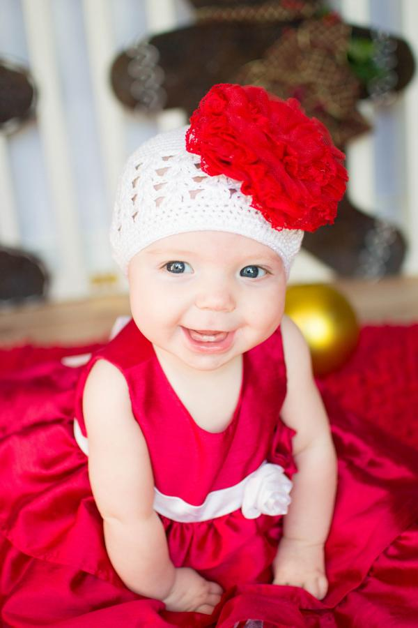 White Crochet Hat with Red Lace Rose