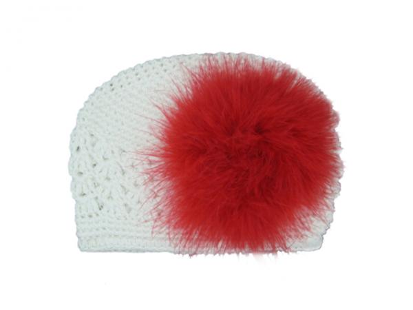 White Crochet Hat with Red Large regular Marabou