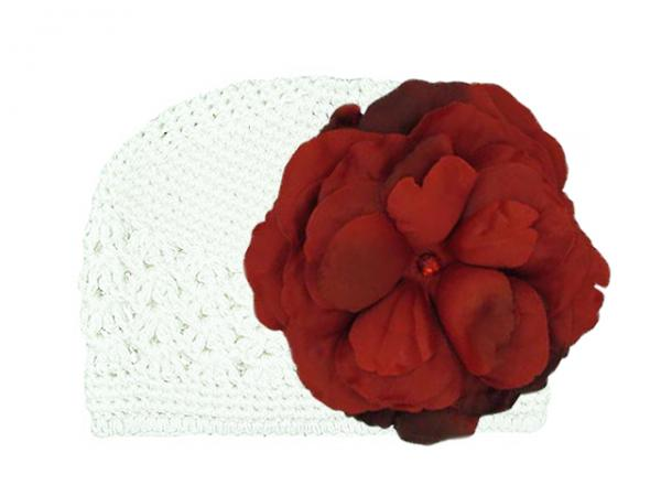 White Crochet Hat with Red Large Rose