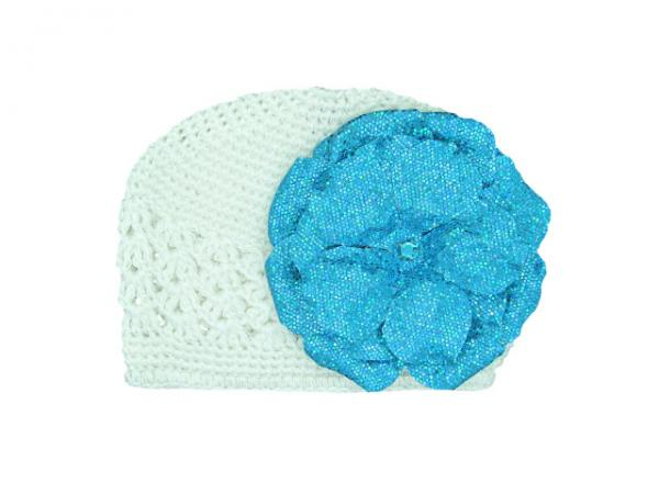 White Crochet Hat with Sequins Teal Rose