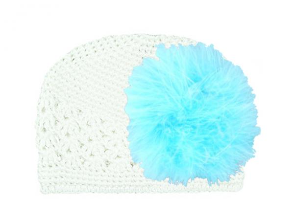 White Crochet Hat with Teal Large regular Marabou