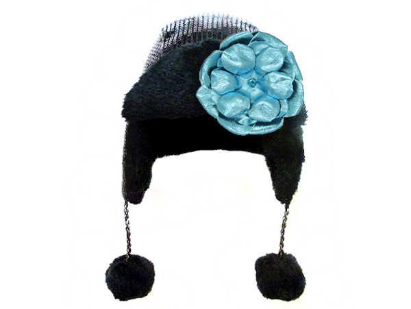 Black Couture Winter Wimple with Metallic Teal Rose