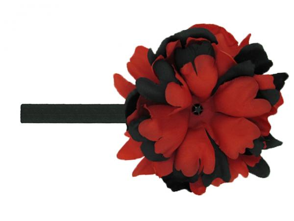 Black Flowerette Burst with Black Red Small Peony