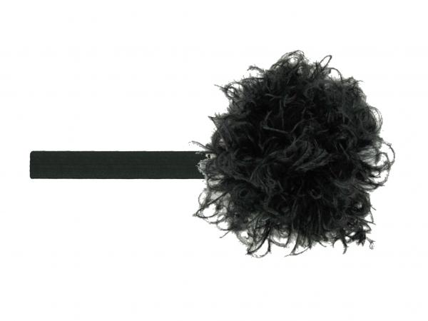Black Flowerette Burst with Black Small Curly Marabou