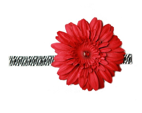 Black White Zebra Flowerette Burst with Red Daisy