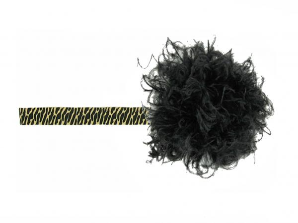 Leopard Flowerette Burst with Black Small Curly Marabou