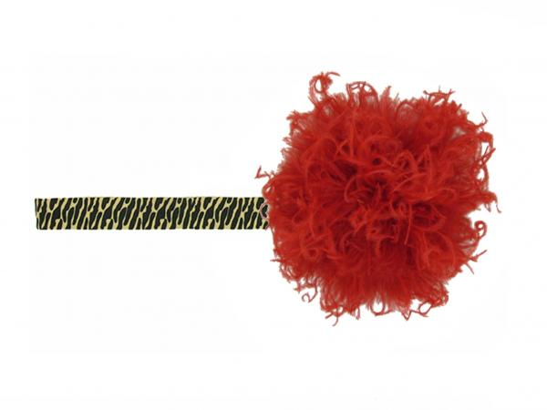 Leopard Flowerette Burst with Red Small Curly Marabou