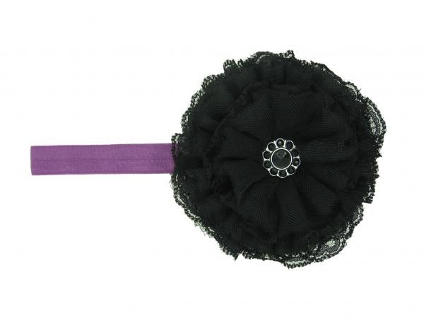 Purple Flowerette Burst with Black Lace Rose