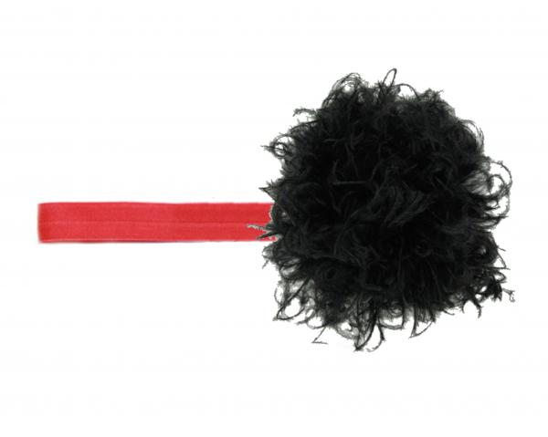 Red Flowerette Burst with Black Small Curly Marabou