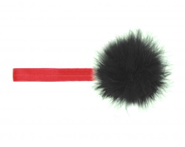 Red Flowerette Burst with Black Small Regular Marabou