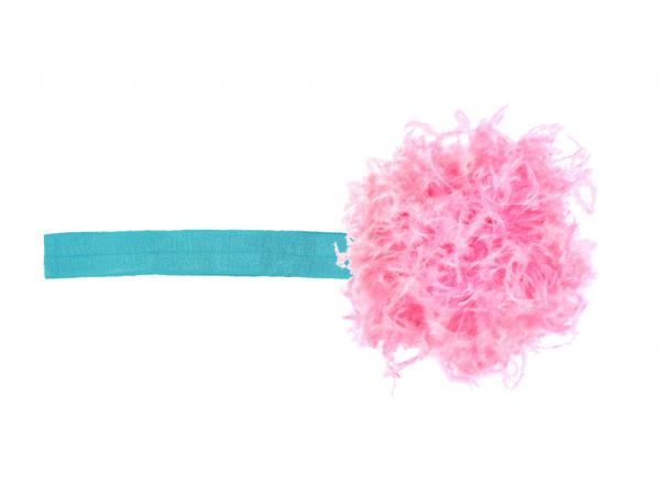 Teal Flowerette Burst with Candy Pink Small Curly Marabou