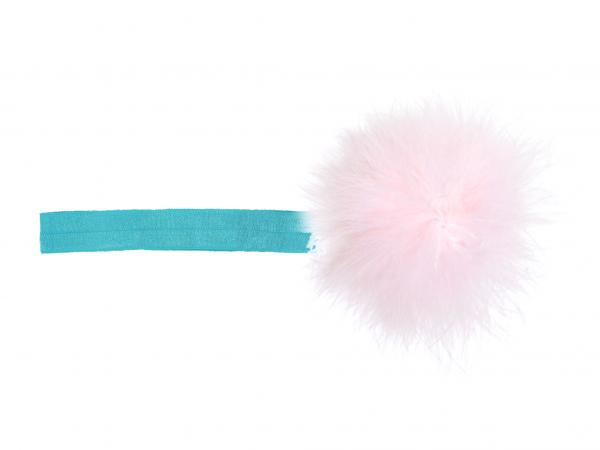 Teal Flowerette Burst with Pale Pink Small Regular Marabou