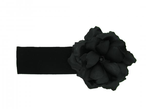 Black Soft Headband with Black Small Rose