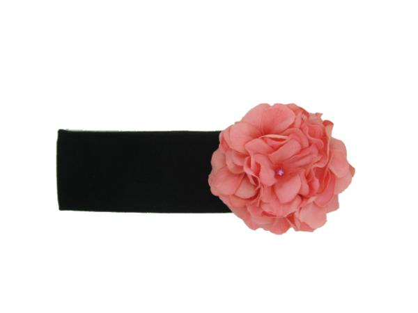 Black Soft Headband with Candy Pink Small Geraniums