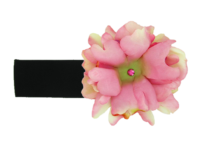 Black Soft Headband with candy pink small peony