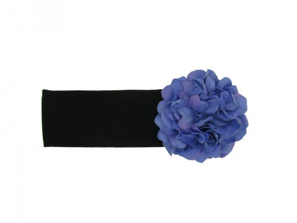 Black Soft Headband with Lavender Small Geraniums