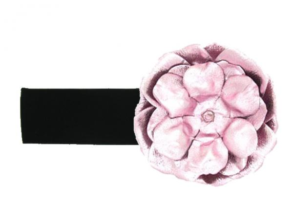 Black Soft Headband with Metallic Pale Pink Rose