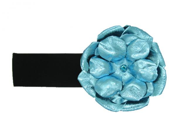 Black Soft Headband with Metallic Teal Rose