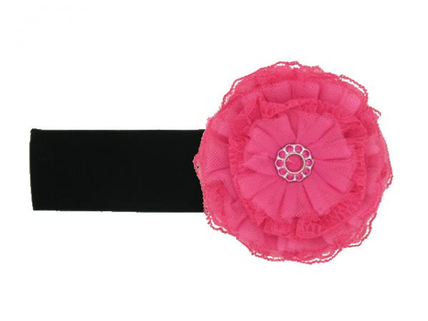 Black Soft Headband with Raspberry Lace Rose